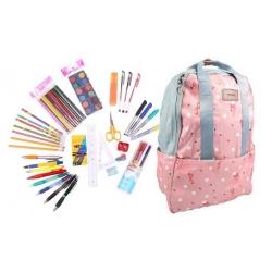 Batoh ružový s plameniakmi s náplňou školských potrieb