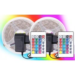 2 ks LED pásikov 10 metrov - RGB 230 V / 12 V