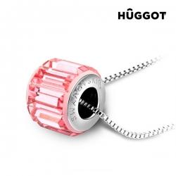 Ródiovaný prívesok Pink Wheel Hûggot so Swarovski kryštálmi® 45 cm