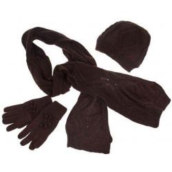 Detský pletený set šál, rukavice a čiapky hnedá veľ. XL
