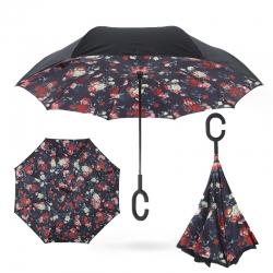 Dáždnik s opačným otváraním červené kvety