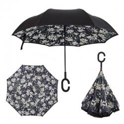 Dáždnik s opačným otváraním biele kvety