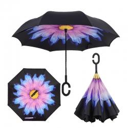 Dáždnik s opačným otváraním fialový kvet