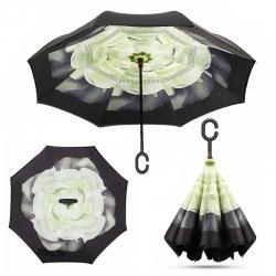 Dáždnik s opačným otváraním zelený kvet