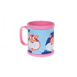 Hrnček detský plastový (ružový so zvieratkami)