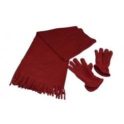 Šál s rukavicami červená