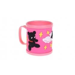 Hrnček detský plastový (ružový s psíkom a méďou)