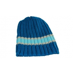 Detská čiapka pletená modrá s tyrkysovým pruhom