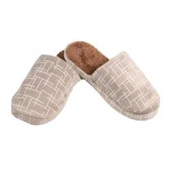Papuče zateplené hnedé geometrický vzor 42/43