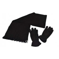 Šál s rukavicami čierna