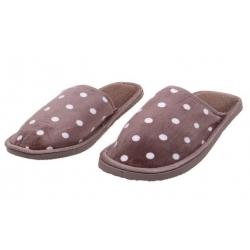 Papuče domáce bodkované hnedé