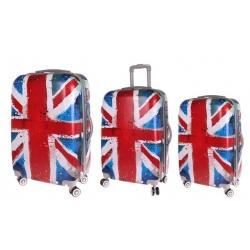 Sada 3 škrupinových kufrov (vlajka)