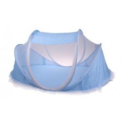 Detská skladacia postieľka - moskytiéra modrá