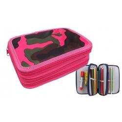 Peračník 3poschodový růžový maskáč + školské potreby