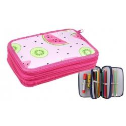 Peračník 3poschodový ružový melón + školské potreby