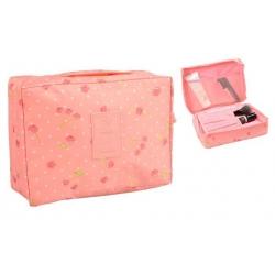 Kozmetická taška Travel ružová s čerešňami