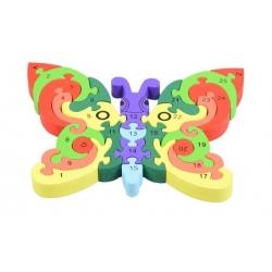 Vzdělávací drevené puzzle  motýľ