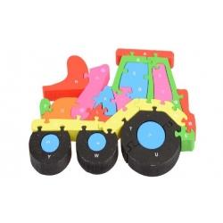 Vzdělávací drevené puzzle traktor