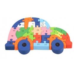 Vzdělávací drevené puzzle auto var.1