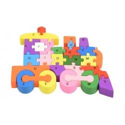 Vzdělávací drevené puzzle vlak var.1