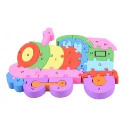 Vzdělávací drevené puzzle vlak var.2