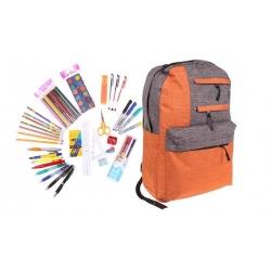 Batoh s náplňou školských potrieb oranžový