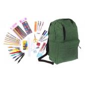 Batoh s náplňou školských potrieb zelený