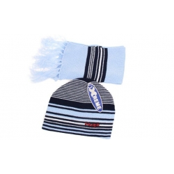 Čiapka chlapčenská zimná s šálom modrá