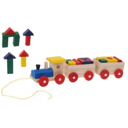 Drevený vlak s kockami