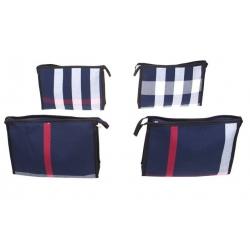 Kozmetická taška s geometrickým vzorom modrá