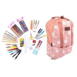 Batoh ružový s ovečkami s náplňou školských potrieb