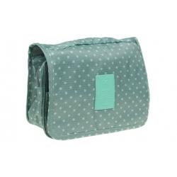 Kozmetická taška závesná zelená s bodkami