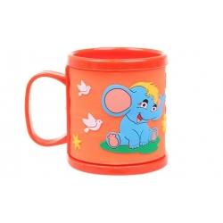 Hrnček detský plastový (oranžový so slonom)