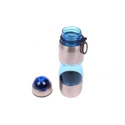 Fľaša na pitie s plastovým náustkom modrá