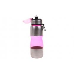Fľaša na pitie s plastovým náustkom ružová