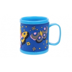 Hrnček detský plastový (modrý s motýle)