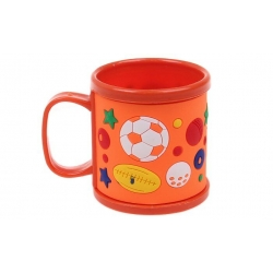 Hrnček detský plastový (oranžový s lopte)