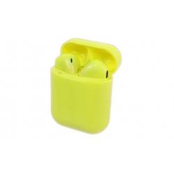 Slúchadlá i12 TWS a dobíjacie box žltá