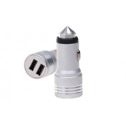 USB nabíjačka do auta strieborná